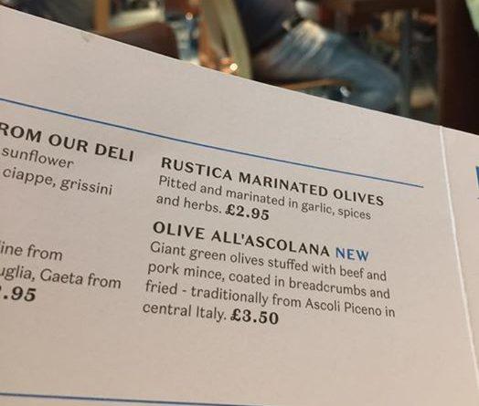 Menu aereoporto Londra con le olive all'ascolana