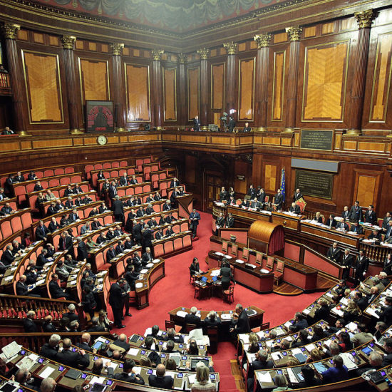 ROME, ITALY - MARCH 15: A general view during the Italian Parliament inaugural session at Senate on March 15, 2013 in Rome, Italy. The new Italian parliament, which opens the 17th Legislature, has the task of electing the President of the House of Parliament and of the Senate, before giving way to a new government. Pier Luigi Bersani, leader of the Democratic Party, asked his senators and representatives to vote blank votes with the intent to continue to work on an agreement with the Five Stars Movement (M5S) who have said it will vote only for its candidates for the presidency of House of Parliament and the Senate.  (Photo by Elisabetta Villa/Getty Images)