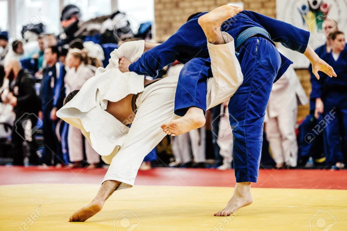 fight two judoka athlete on tatami judo competitions