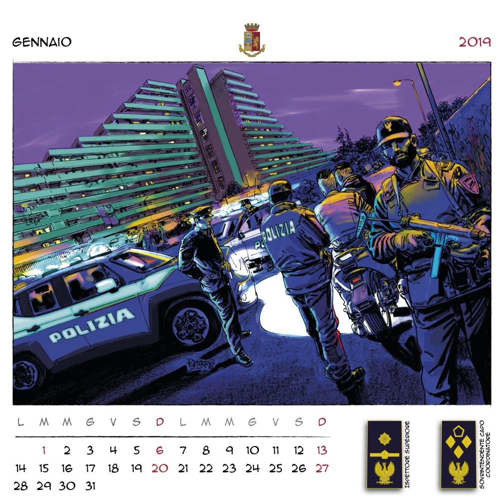 Calendario Polizia Parete 2019
