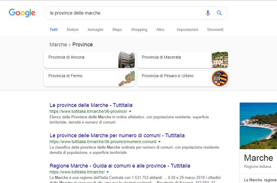 Google su province delle Marche